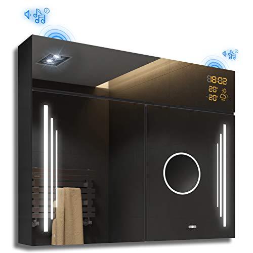 FORAM Spiegelschrank mit LED Beleuchtung Badschrank A++ (Breite 66 cm & Höhe 72 cm, Anthrazit)