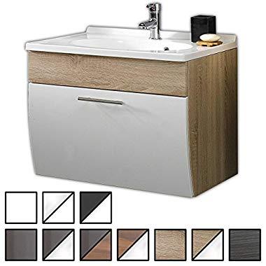 Waschtisch Set Wendum Sonoma-Eiche (Breite 70 cm, für Gäste-WC, Form recht-eckig, hängend, unten abgerundet, 1 Schublade breit) (Werdum)